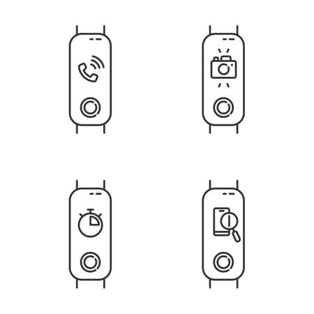Fitness tracker and smartphone synchronization linear icons set. Incoming call and lost phone option. Distance camera access. Thin line symbols. Isolated vector outline illustrations. Editable stroke