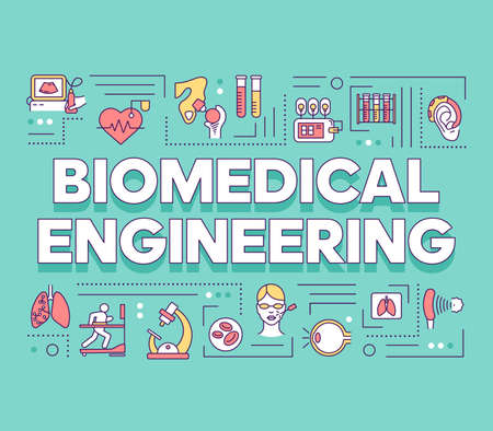 Biomedical engineering word concepts banner. Biotechnology for health. Healthcare development. Presentation, website. Isolated lettering typography idea with linear icons. Vector outline illustration Illustration