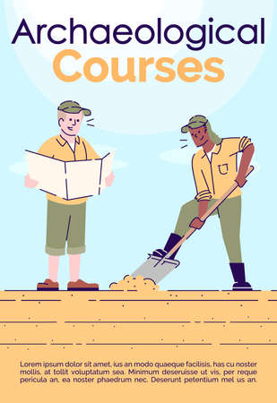 Archaeological courses brochure template. Flyer, booklet, leaflet concept with flat illustrations. Vector page cartoon layout for magazine. Treasure hunt advertising invitation with text space