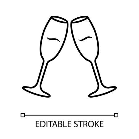 Two clinking wine glasses linear icon. Champagne flutes. Glassfuls of alcohol drink. Wine service. Celebration. Thin line illustration. Contour symbol. Vector isolated outline drawing. Editable stroke