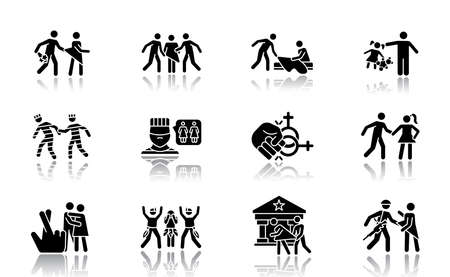 Different rape types drop shadow black glyph icons set. Date, statutory, children and spousal rape. Abuse of women in prison. Sexual harassment and assault of females. Isolated vector illustrations