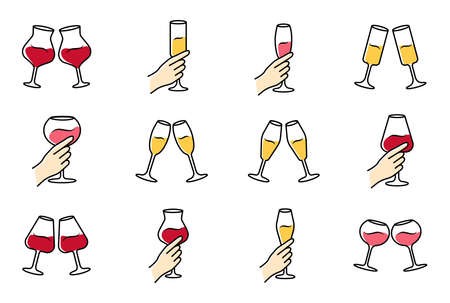 Wine service color icons set. Clinking glasses of red wine and champagne. Hands holding wineglasses. Celebration, party. Wedding. Tasting, degustation. Toast. Isolated vector illustrations Vettoriali