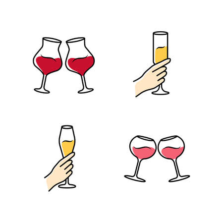 Wine service color icons set. Clinking glasses of red and rose wine. Hands holding alcohol beverages. Celebration, party. Wedding. Glassware, winery. Cheers. Isolated vector illustrations Vettoriali