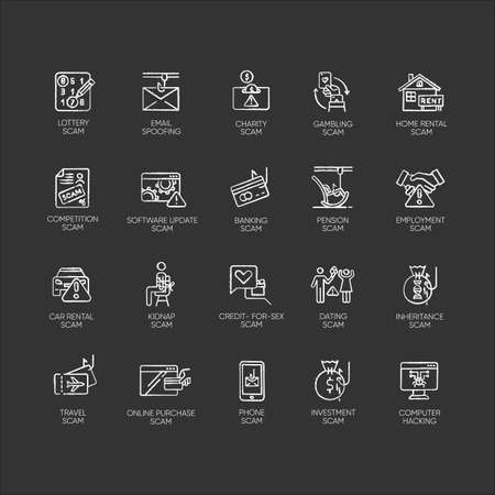 Scam types chalk icons set. Malware. Investment, rental schemes. Phishing tricks. Cybercrime. Malicious activities. Financial fraud. Illegal money gain. Isolated vector chalkboard illustrations