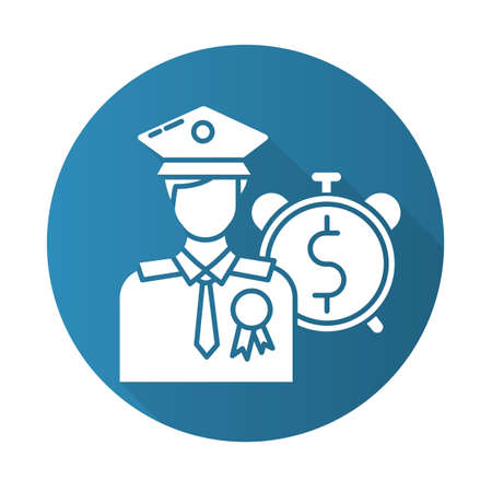 Loans for veterans blue flat design long shadow glyph icon. Credit for military man. Money for people who served in forces. Consolidation credit. Economy industry. Vector silhouette illustration