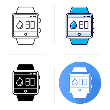 Water balance tracking smartwatch function icon. Fitness wristband capability. Hydration remindings and measurements. Flat design, linear and color styles. Isolated vector illustrations Çizim