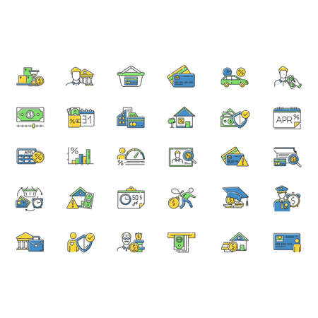 Loan color icons set. Student loan. Borrowing from Retirement. Personal creditworthiness. Heavy credit card debt. Home equity loan. Retail, consumerism. APR calculator. Isolated vector illustrations