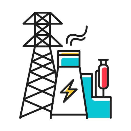 Icône de couleur bleue de l'industrie de l'énergie. Ingénierie électrique. Production et transport d'électricité. Secteur électrique. Centrale nucléaire et tour haute tension. Illustration vectorielle isolée Vecteurs
