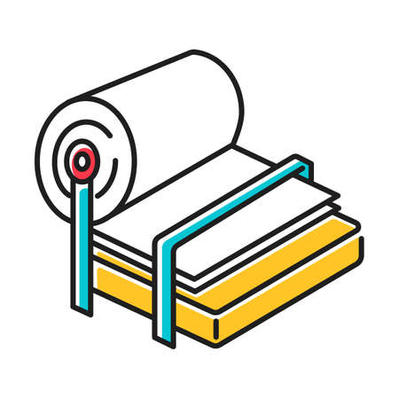 Pulp and paper industry color icon. Canvas production. Blank sheet on press. Professional conveyor, facility machinery. Page, fibre. Papermaking. Technical maintenance. Isolated vector illustration
