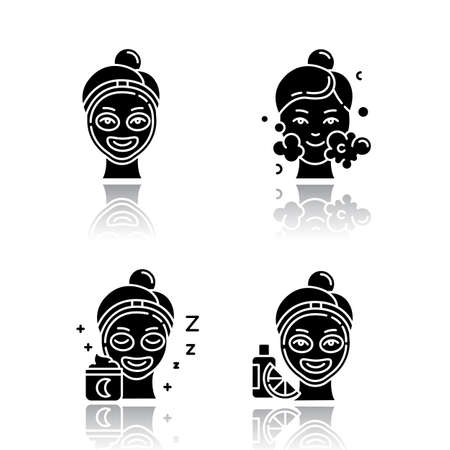 Skin care procedures drop shadow black glyph icons set. Night time routine. Vitamin C cream for facial beauty treatment. Using cleanser water. Moisturizer for skincare. Isolated vector illustrations
