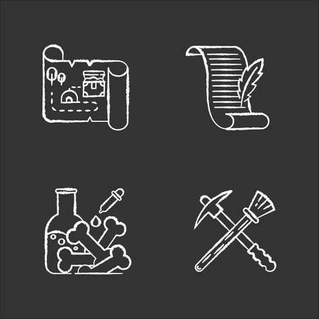 Archeology chalk icons set. Treasure map. Ancient manuscript. Lab research. Restoration equipment. Historical discoveries. Pickaxe and brush. Poetry, letter. Isolated vector chalkboard illustrations