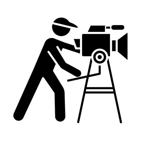 Film industry glyph icon. Cinema business. Cinematography. Operator filming scene. Filmmaking. Moviemaking. Video production. Silhouette symbol. Negative space. Vector isolated illustration