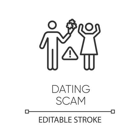 Dating scam linear icon. Online romance fraud. Fake dating service. False romantic intention. Confidence trick. Thin line illustration. Contour symbol. Vector isolated outline drawing. Editable stroke