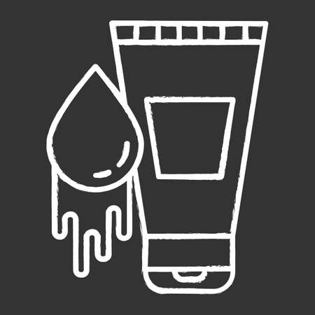 Water-based lubricant chalk icon. Product for safe sex. Natural lube, male gel. Healthy intimate intercourse. Spermicide to prevent unintended pregnancy. Isolated vector chalkboard illustration Illustration