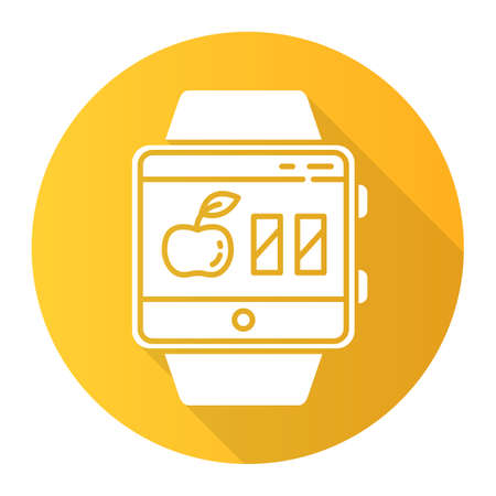 Calorie calculator smartwatch function orange flat design long shadow glyph icon. Estimating calories to maintain, lose and gain weight. Fitness wristband. Vector silhouette illustration