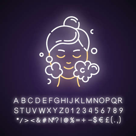 Water face cleanser neon light icon. Skin care procedure. Cleansing, moisturizing effect. Dermatology, cosmetics, makeup. Glowing sign with alphabet, numbers and symbols. Vector isolated illustration Imagens - 134810891