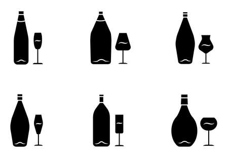 Wine glyph icons set. Bottle and wineglass. Alcoholic beverage. Restaurant service. Glassware for red, white, dessert wine and champagne. Silhouette symbols. Vector isolated illustration 向量圖像
