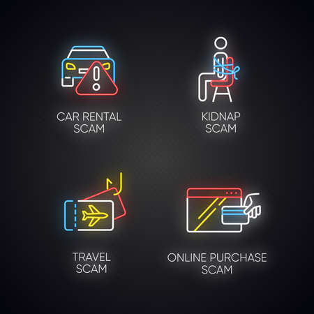 Scam types neon light icons set. Car rental, online purchase fraudulent scheme. Kidnap, travel trick. Cybercrime. Financial scamming. Illegal money gain. Glowing signs. Vector isolated illustrations