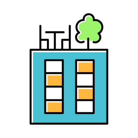 Rooftop deck blue color icon. Panoramic terrace. Luxurious penthouse balcony. Garden space on roof. Sky park lounge zone. Outdoor area. Apartment amenities. Isolated vector illustration