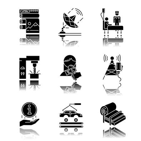 Industry types drop shadow black glyph icons set. Publishing, telecommunication, healthcare, steel production, news and media, broadcasting, info center, automotive induatry. Isolated illustrations Ilustração