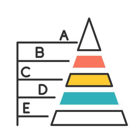 Pyramid graph color icon. Information hierarchy chart. Data connection presentation. Business model visualisation. Economic presentation. Financial report and research. Isolated vector illustration