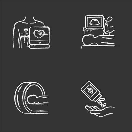 Medical procedure chalk icons set. Electrocardiogram. Ultrasound diagnostics. Tomography. Brain scan for tumor. Homeopathy. Natural pills. Herbal supplement. Isolated vector chalkboard illustrations