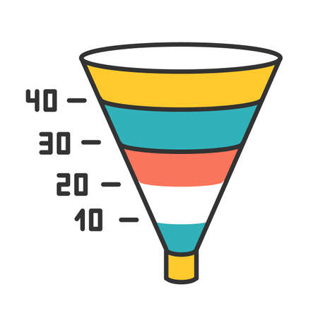 Funnel graph color icon. Marketing strategy chart. Conversion economic plan. Financial report. Business research presentation. Visualization with segments and numbers. Isolated vector illustration
