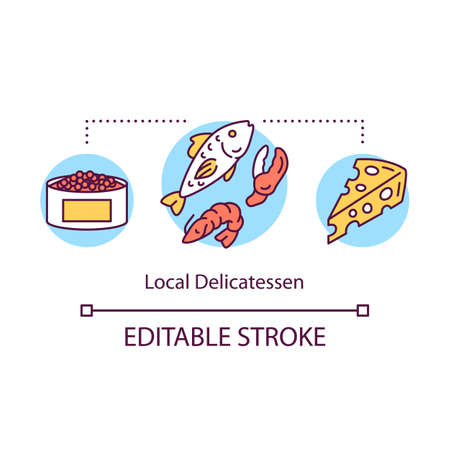 Local delicatessen concept icon. Unique production idea thin line illustration. Special food of region, country. Foreign expensive food. Vector isolated outline drawing. Editable stroke