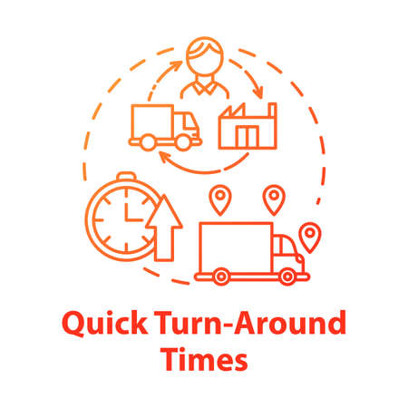 Quick turn around times concept icon. Delivery service. Freight transportation. Logistics. Transport of goods idea thin line illustration. Vector isolated outline drawing Illusztráció