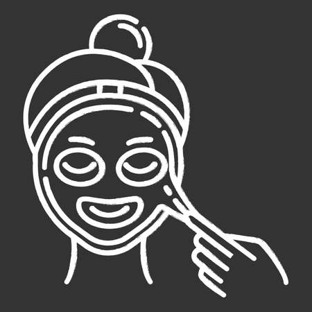Applying peel-off mask chalk icon. Skin care procedure. Facial beauty treatment. Face product for lifting and exfoliating. Dermatology, cosmetics, makeup. Isolated vector chalkboard illustration