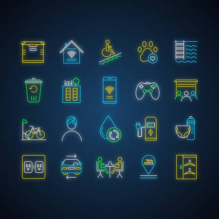 Apartment amenities neon light icons set. Residential services. Comfortable house signs. Luxuries for dwelling inhabitants. Property conveniences. Glowing signs. Vector isolated illustrations