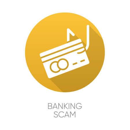 Banking scam yellow flat design long shadow glyph icon. Skimming. Identity theft. Credit card phishing. Financial fraud. Fake loan offer. Illegal money gain. Vector silhouette illustration Standard-Bild - 134826546