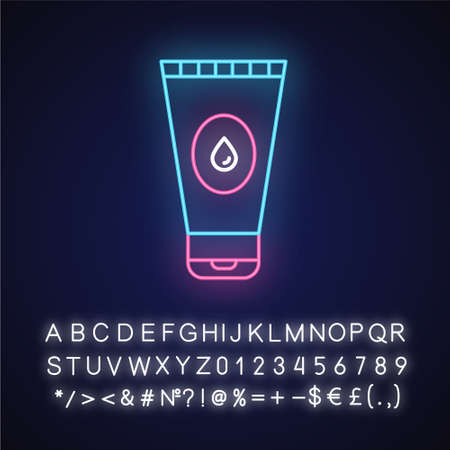 Water-based lubricant neon light icon. Male, female product for safe sex. Natural gel, lube. Product for intimate hygiene. Glowing sign with alphabet, numbers and symbols. Vector isolated illustration