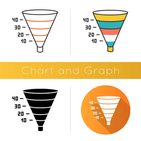Funnel graph icon. Marketing strategy chart. Conversion economic plan. Financial report. Business research presentation. Flat design, linear and color styles. Isolated vector illustrations