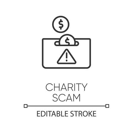 Charity scam linear icon. Sham charity. Fake donation request. False fundraiser. Money theft. Cybercrime. Thin line illustration. Contour symbol. Vector isolated outline drawing. Editable stroke