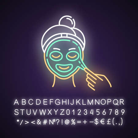 Applying peel-off mask neon light icon. Skin care procedure. Facial beauty treatment. Dermatology, cosmetics, makeup. Glowing sign with alphabet, numbers and symbols. Vector isolated illustration Imagens - 134810935