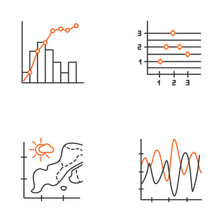 Chart and graph linear icons set. Temperature map. Point and figure chart. Mixed graph. Vibration curve. Thin line contour symbols. Isolated vector outline illustrations. Editable stroke