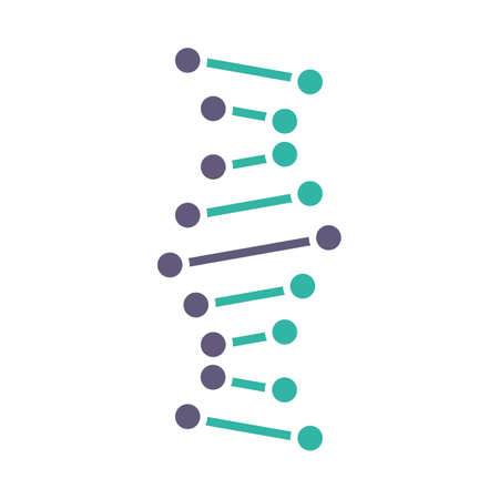 DNA helix violet and turquoise color icon. Connected dots, lines. Deoxyribonucleic, nucleic acid structure. Spiral strand. Chromosome. Molecular biology. Genetic code. Isolated vector illustration