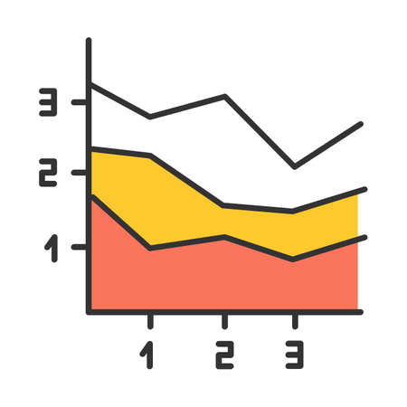 Area chart color icon. Increasing graph with segments. Rising infographic with sections. Marketing presentation. Business report visualization. Economic research. Isolated vector illustration 向量圖像