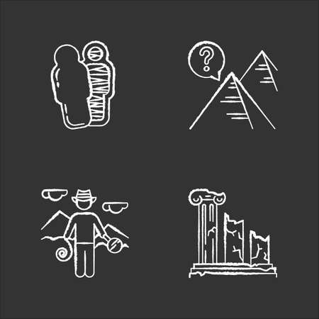 Archeology chalk icons set. Mummy in sarcophagus. Pyramids. Egyptian culture mysteries. Researcher in field. Column ruins. Broken pillars. History, culture. Isolated vector chalkboard illustrations