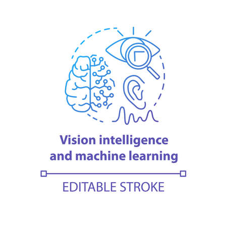 Vision intelligence and machine learning blue gradient concept icon. Smart computer system idea thin line illustration. Robotics knowledge. Vector isolated outline drawing. Editable stroke