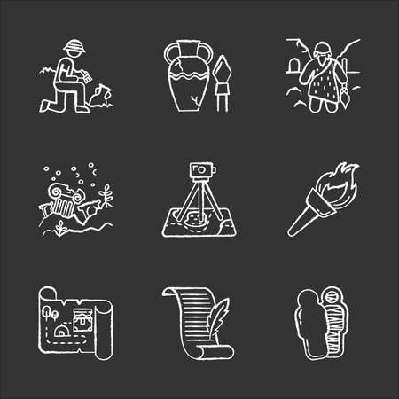 Archeology chalk icons set. Excavation and research. Archeologist. Ancient artifacts. Caveman. Ruins. Filed survey. Flambeau. Treasure map, manuscript. Mummy. Isolated vector chalkboard illustrations
