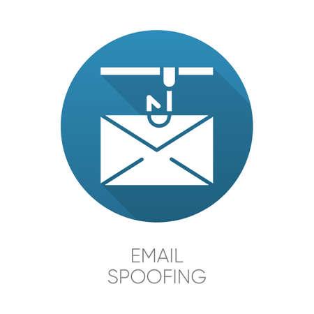 Email spoofing blue flat design long shadow glyph icon. Illegitimate business. Fake sender. Spamming. Mail phishing. Cybercrime. blue flat design long shadow glyph icon. Vector silhouette illustration Stock Illustratie