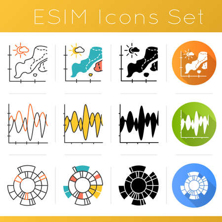 Chart and graph icons set. Temperature map. Sesmic activity. Vibration visualization. Sunburst radial diagram. Business. Flat design, linear, black and color styles. Isolated vector illustrations 向量圖像