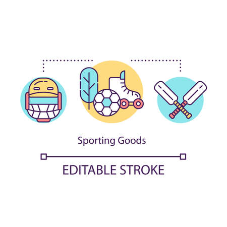 Sporting goods concept icon. Local production idea thin line illustration. Equipment for kids, active hobbies. Outdoor games, activities.Vector isolated outline drawing. Editable stroke Stock Illustratie