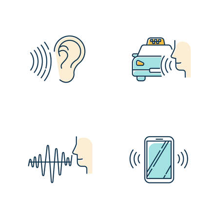 Blue speech recognizing color icons set. Voice control idea. Soundwave, voice command, cab order. Interactive response system. Talk and listen. Virtual assistant. Isolated vector illustrations