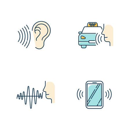 Discours bleu reconnaissant le jeu d'icônes de couleur. Idée de commande vocale. Soundwave, commande vocale, commande de cabine. Système de réponse interactif. Parlez et écoutez. Assistant virtuel. Illustrations vectorielles isolées