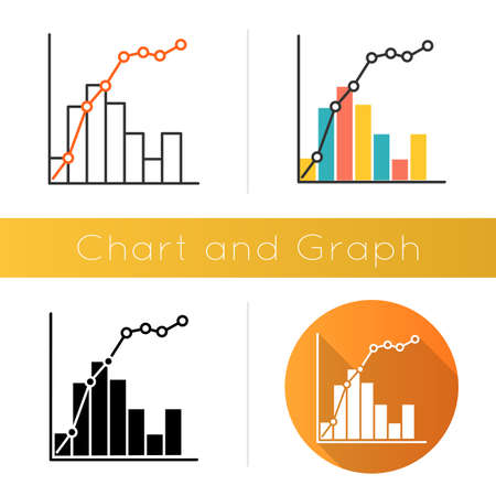 Pareto curve icon. Information chart and graph. 80-20 rule visualization. Social wealth distribution. Business diagram. Flat design, linear and color styles. Isolated vector illustrations Vektorové ilustrace