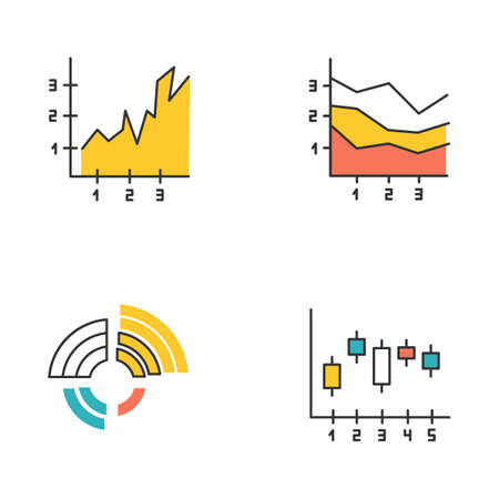 Chart and graph color icons set. Radial diagram with increasing values. Area charts with segments and sections. Vertical scatter histogram. Business research, report. Isolated vector illustrations