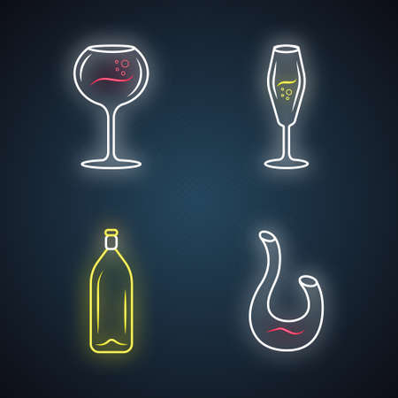 Dessert and sparkling wine neon light icons set. Different types of wineglasses. Decanter, bottle. Aperitif drink, cocktail, alcohol beverage. Glowing signs. Vector isolated illustrations